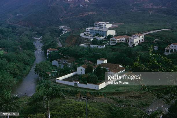 Hillside homes outside Cali Colombia South America circa 1965