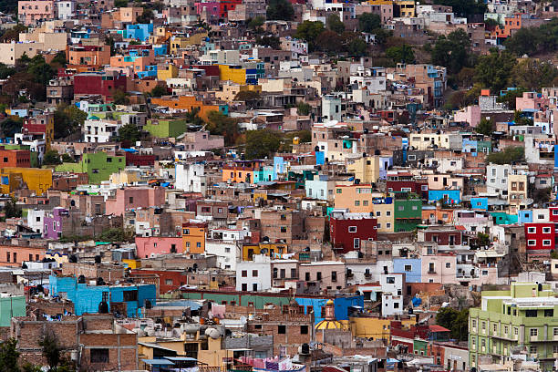 A hillside of colorful buildings, in the colourful city of Guanajuato, Mexico