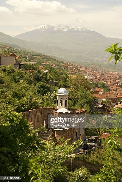 hillside ruins in the balkans - kosovo stock photos and pictures
