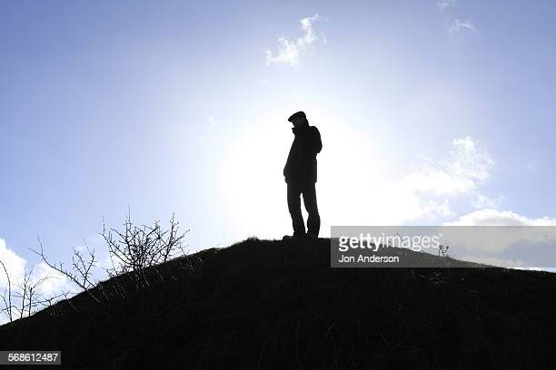 hillside silhouette - flat cap stock photos and pictures