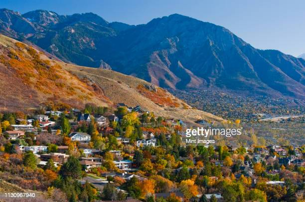 hillside suburban homes - salt lake city utah stock photos and pictures