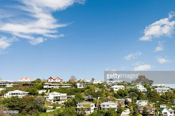 hilltop suburban real estate - housing development stock pictures, royalty-free photos & images