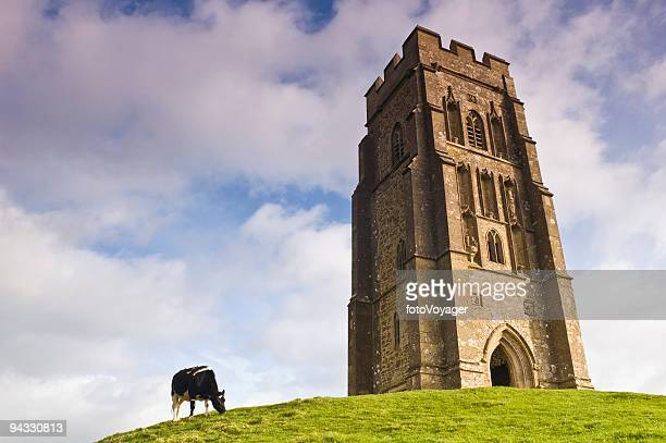 hilltop tower - glastonbury stock pictures, royalty-free photos & images