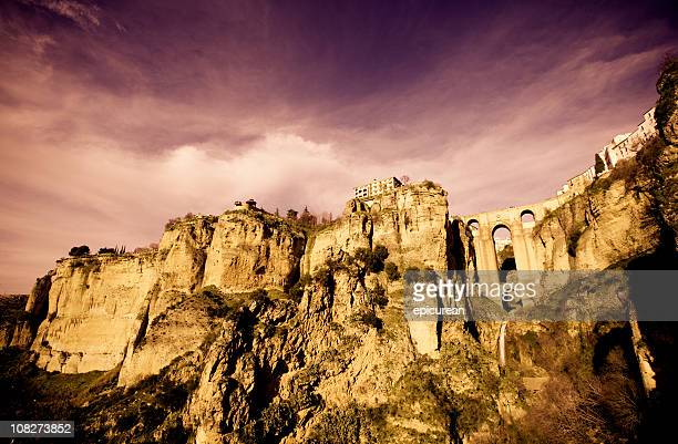 hilltop town in spain - ronda - image manipulation stock pictures, royalty-free photos & images
