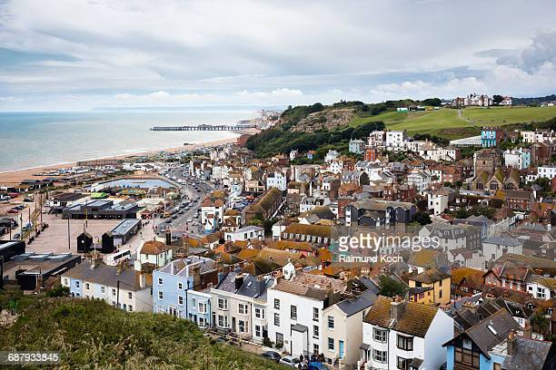hilltop view of the old town of hastings - coastline stock pictures, royalty-free photos & images