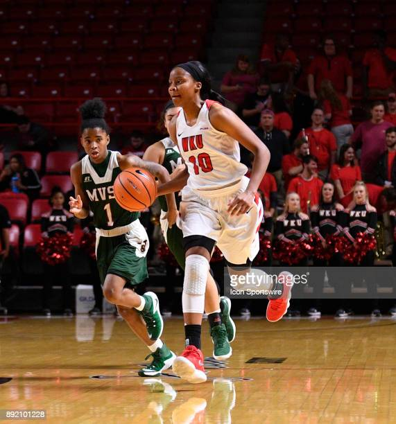 Hilltoppers forward Tashia Brown pushes the ball on a fast break during the third quarter between Mississippi Valley State Devilettes and the WKU...
