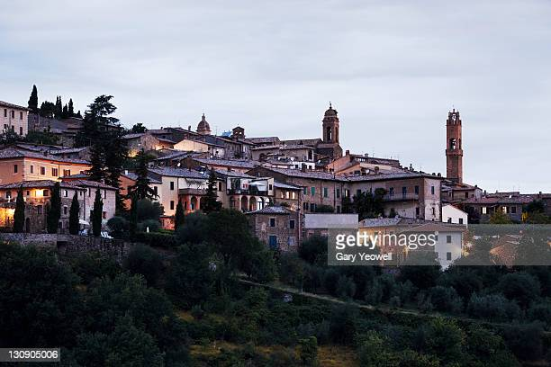 Hilltown of Montalcino at dusk