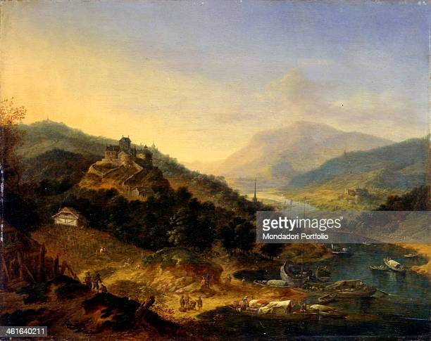 Hilly Landscape with River by Jan Griffier 1699 17th Century oil on board 28 x 35 cm Italy Lombardy Milan Castello Sforzesco Civic Collection of...