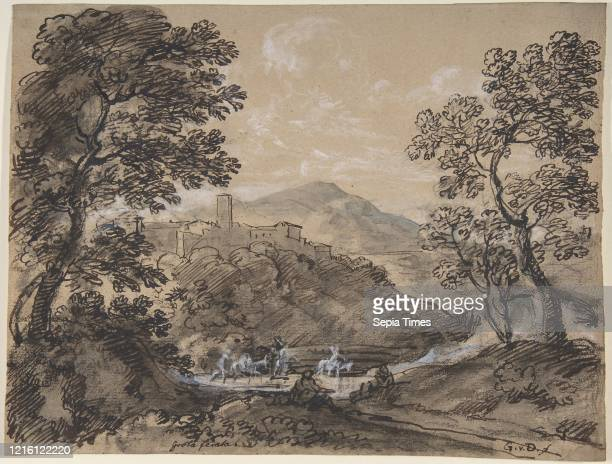 Hilly Landscape with Travellers, late 18th-mid-19th century, Black chalk, pen and brown and black ink, brush and gray ink, heightened with white body...