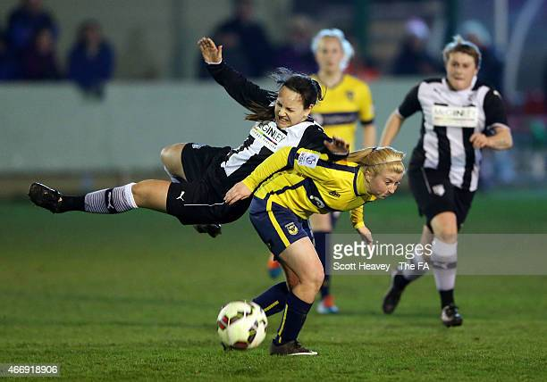 Hilly Pickett of Oxford in action with Emily Haslin of Watford during the WSL match between Oxford United Womens and Watford Ladies FC on March 19,...