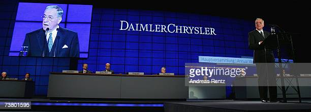 Hilmar Kopper outgoing chairman of the supervisory board speaks during the annual shareholders meeting on April 4 2007 in Berlin Germany Dieter...