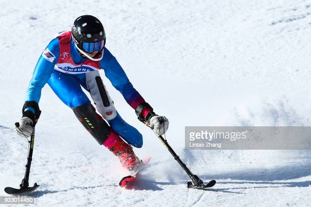 Hilmar Orvarsson of Israel competes in the Men's Slalom Run 2 Standing at Alpine Centre during day eight of the PyeongChang 2018 Paralympic Games on...