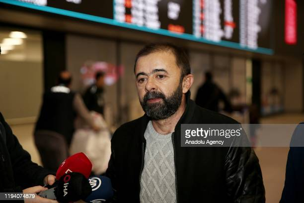 Hilmi Balci one of Anadolu Agency's four employees detained in Egypt earlier this week speaks to media after he has arrived back in Istanbul Turkey...