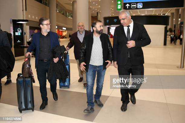 Hilmi Balci one of Anadolu Agency's four employees detained in Egypt earlier this week is being welcomed after he has arrived back in Istanbul Turkey...
