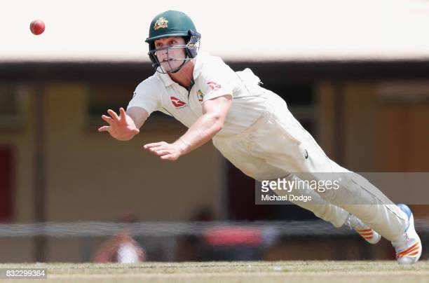 Hilton Cartwright of Australia dives for an attempted catch during day three of the Australian Test cricket intersquad match at Marrara Cricket...