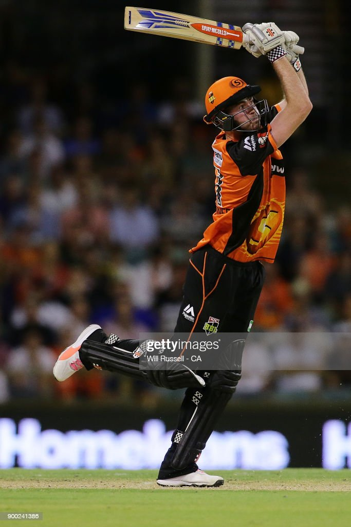 Hilton Cartwright of the Scorchers bats during the Big Bash League match between the Perth Scorchers and the Sydney Sixers at WACA on January 1, 2018 in Perth, Australia.
