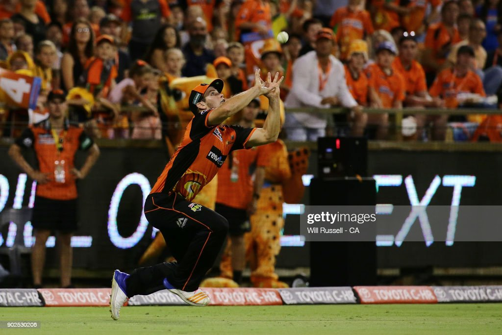 Hilton Cartwright of the Scorchers takes a catch off Cameron White of the Renegades, later to be a No ball during the Big Bash League match between the Perth Scorchers and the Melbourne Renegades at WACA on January 8, 2018 in Perth, Australia.