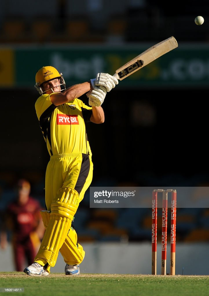 Hilton Cartwright of the Warriors bats during the Ryobi One Day Cup match between the Queensland Bulls and the Western Australia Warriors at The Gabba on February 2, 2013 in Brisbane, Australia.