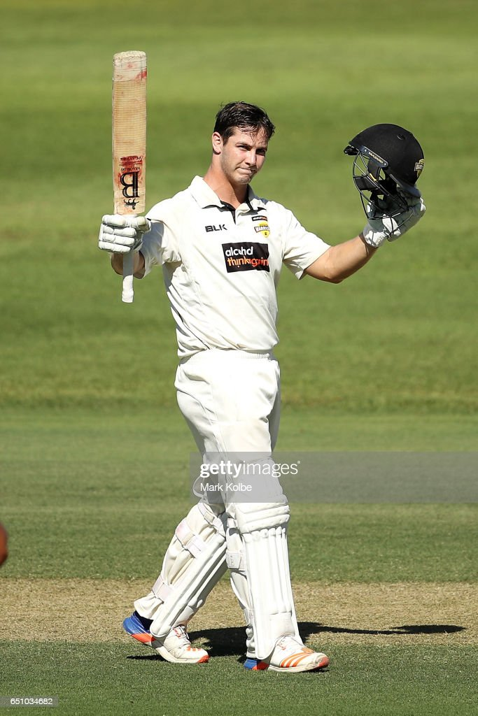 Hilton Cartwright of the Warriors celebrates his century during the Sheffield Shield match between Victoria and Western Australia at Traeger Park on March 10, 2017 in Alice Springs, Australia.