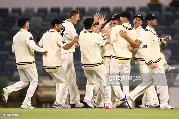 Hilton Cartwright of Western Australia is congratulated by team mates after running out Jake Doran of the Tigers during day two of the Sheffield...