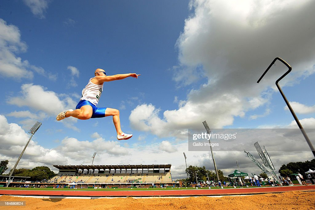 Hilton Langenhoven of WP performs in the long jump during day 4 of The Nedbank National Championships for the Physically Disabled (Athletics) at on March 26, 2013 in Pretoria, South Africa.
