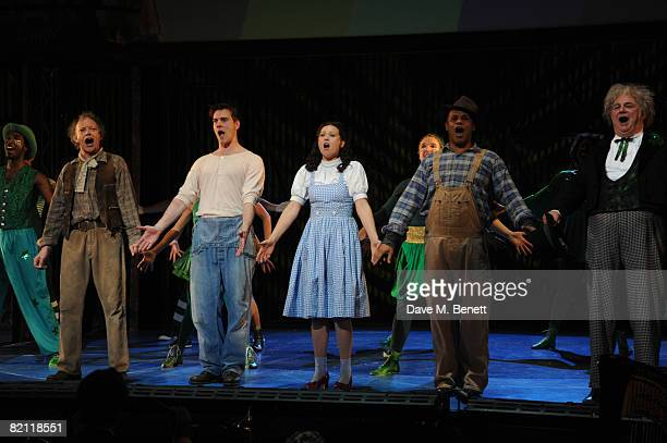 Hilton McCrae Adam Cooper Sian Brooke Gary Wilmot and Roy Hudd take their curtain call on the opening night of The Wizard of Oz at the Royal Festival...