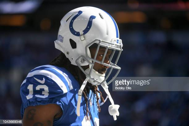 Y Hilton of the Indianapolis Colts before the game against the Houston Texans at Lucas Oil Stadium on September 30 2018 in Indianapolis Indiana