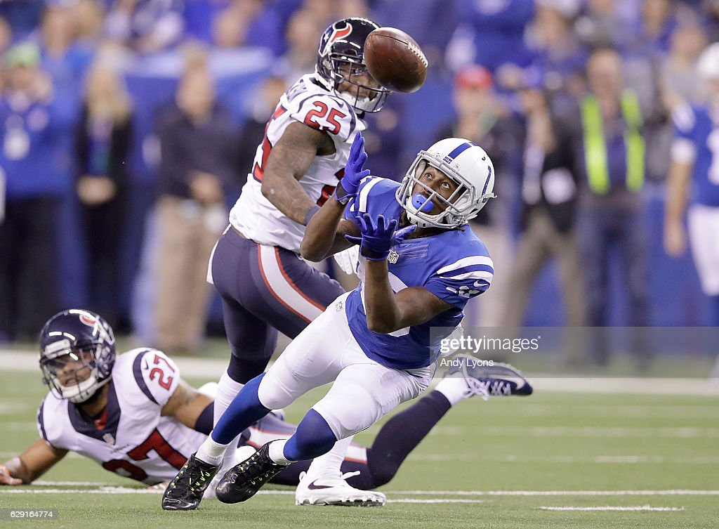 T.Y. Hilton #13 of the Indianapolis Colts catches a pass during the fourth quarter of the game against the Indianapolis Colts at Lucas Oil Stadium on December 11, 2016 in Indianapolis, Indiana.