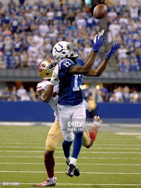 Y Hilton of the Indianapolis Colts catches a pass for a first down in overtime during the game between the Indianapolis Colts and the San Francisco...