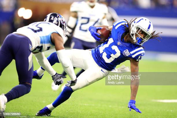 Y Hilton of the Indianapolis Colts catches a pass in the game against the Tennessee Titans in the third quarter at Lucas Oil Stadium on November 18...