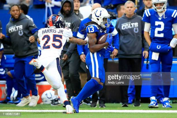Hilton of the Indianapolis Colts catches a pass on the game winning drive against the Denver Broncos at Lucas Oil Stadium on October 27, 2019 in...