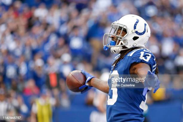 Hilton of the Indianapolis Colts celebrates after a touchdown in the game against the Houston Texans at Lucas Oil Stadium on October 20, 2019 in...