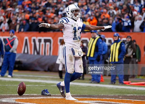 Y Hilton of the Indianapolis Colts celebrates his game winning touchdown during the fourth quarter against the Cleveland Browns at FirstEnergy...