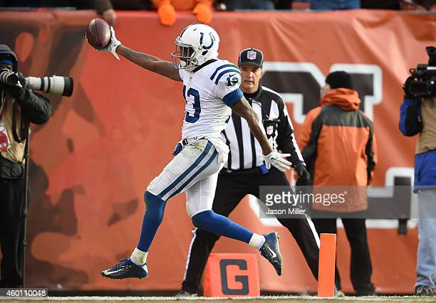 Y Hilton of the Indianapolis Colts celebrates his touchdown during the third quarter against the Cleveland Browns at FirstEnergy Stadium on December...