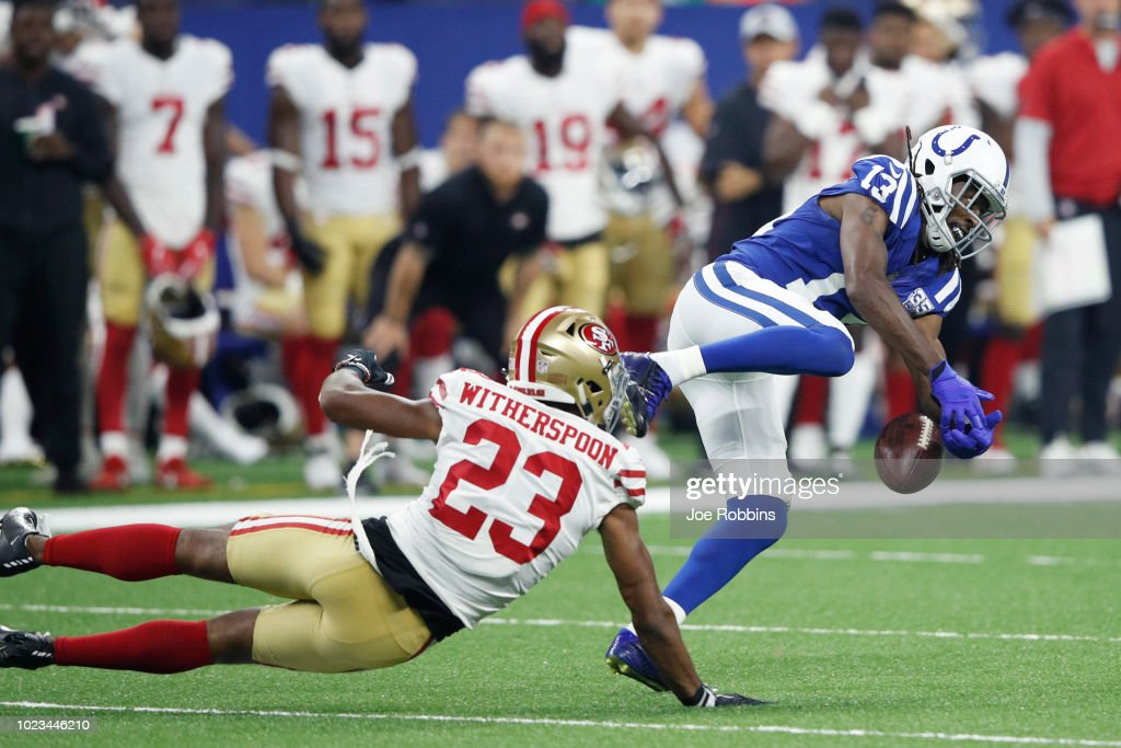 T.Y. Hilton #13 of the Indianapolis Colts drops a pass while defended by Ahkello Witherspoon #23 of the San Francisco 49ers in the first quarter of a preseason game at Lucas Oil Stadium on August 25, 2018 in Indianapolis, Indiana.