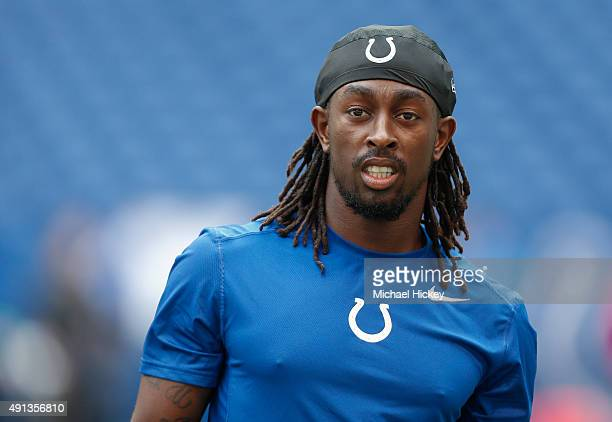 Y Hilton of the Indianapolis Colts is seen during warmups before the game against the Jacksonville Jaguars at Lucas Oil Stadium on October 4 2015 in...