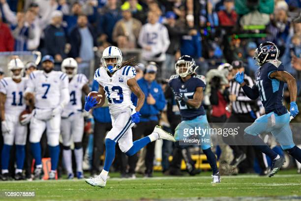 Y Hilton of the Indianapolis Colts runs the ball during a game against the Tennessee Titans at Nissan Stadium on December 30 2018 in Nashville...