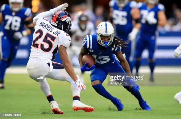 Hilton of the Indianapolis Colts runs with the ball against the Denver Broncos at Lucas Oil Stadium on October 27, 2019 in Indianapolis, Indiana.