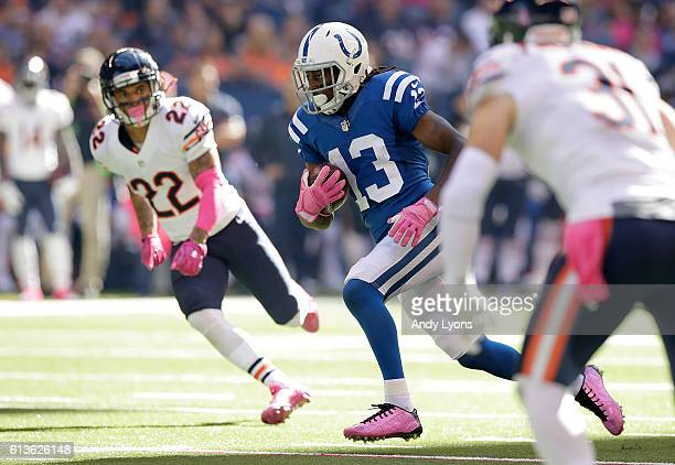 Y Hilton of the Indianapolis Colts runs with the ball during the game against the Chicago Bears at Lucas Oil Stadium on October 9 2016 in...