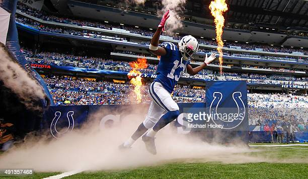 Y Hilton of the Indianapolis Colts takes the field before the game against the Jacksonville Jaguars at Lucas Oil Stadium on October 4 2015 in...