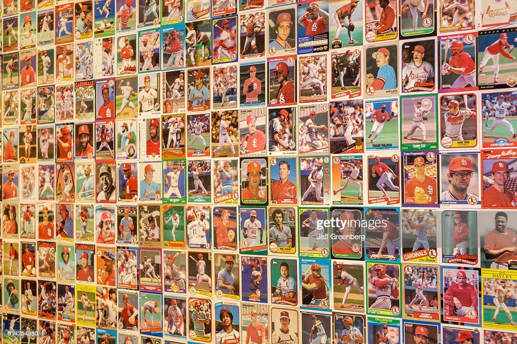Hilton St. Louis at the Ballpark hotel baseball cards display. : News Photo