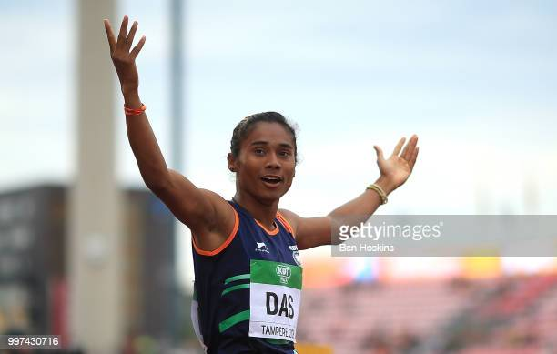 Hima Das of India celebrates winning gold in the final of the women's 400m on day three of The IAAF World U20 Championships on July 12 2018 in...