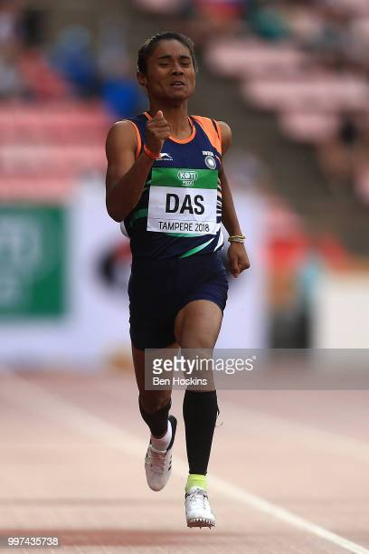 Hima Das of India in action during the final of the women's 400m on day three of The IAAF World U20 Championships on July 12 2018 in Tampere Finland