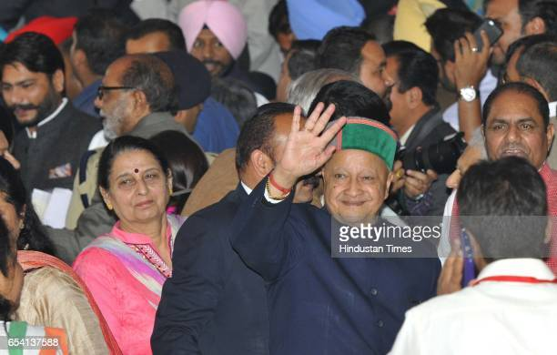 Himachal CM Virbhadra Singh during oath ceremony Capt Amarinder Singh at Punjab Raj Bhawan on March 16 2017 in Chandigarh India