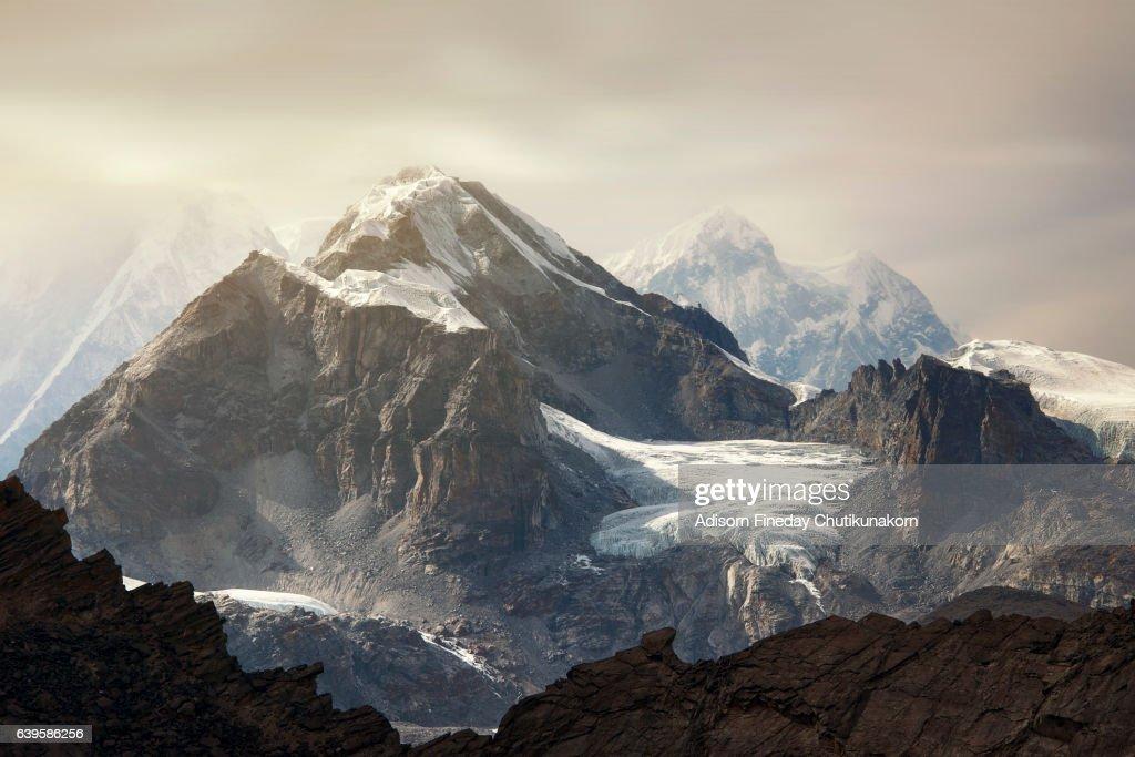 Himalaya Everest mountain peaks  from Gokyo ri glacier Nepal : Stock Photo