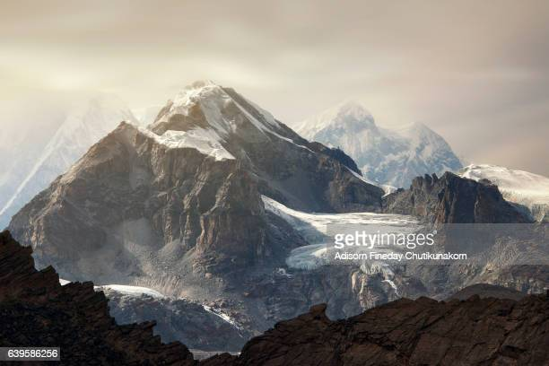 Himalaya Everest mountain peaks  from Gokyo ri glacier Nepal