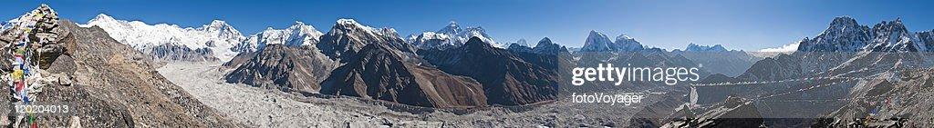 Himalaya Everest mountain peaks panorama Cho Oyu Gokyo glacier Nepal : Stock Photo