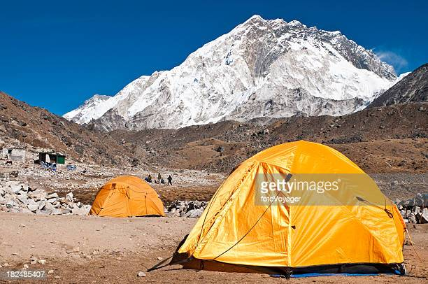 Himalaya Everest NP base camp tents mountain peaks Khumbu Nepal