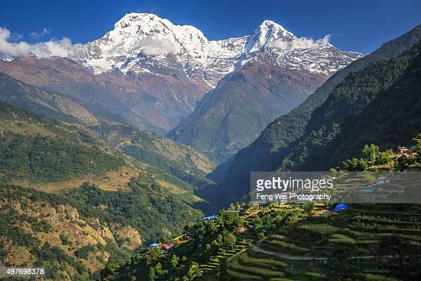 himalaya landscape, landruk, annapurna circuit, nepal - annapurna south stock photos and pictures