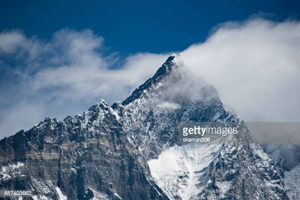 himalaya mountain range cover by snow on the way to everest base camp nepal